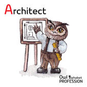 Alphabet professions Owl Architect character on a white background Vector Watercolor — Stockvektor