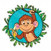 Funny monkey with a banana in her hand. As part of the leaf. — Stock Vector