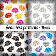 Bows. Set of seamless patterns. Vector illustration. — Stock Vector