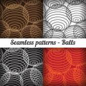 Shaped balls. Set of seamless patterns. Vector — Stock Vector