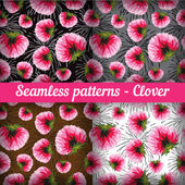 Clover. Set of seamless patterns.  Vector set. — Vettoriale Stock