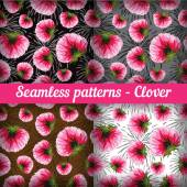 Clover. Set of seamless patterns.  Vector set. — Stockvektor