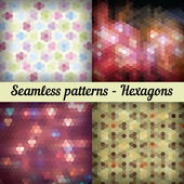 Hexagons. Set of seamless patterns. Abstract background — Vector de stock