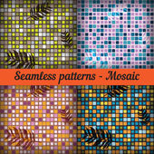 Mosaic with palm leaves. Set of seamless patterns. — Stock Vector