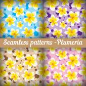 Plumeria. Set of seamless patterns. Floral background — Stock Vector