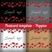 Poppies. Set of templates for postcards Floral background. — Stock Vector