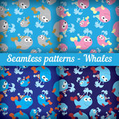 Whales. Set of abstract seamless pattern. Template backdrop for a nursery or playroom, bathroom. — Stock Vector