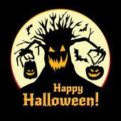 Halloween vector illustration - pumpkins and old tree — Stock Vector