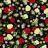 Patrón floral transparente con rosas. ilustración vectorial. — Vector de stock
