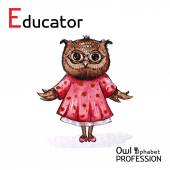 Alphabet professions Owl Educator character on a white background Vector Watercolor. — Stock Vector