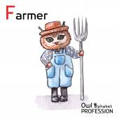 Alphabet professions Owl Letter F - Farmer character on a white background Vector Watercolor. — Stockvektor