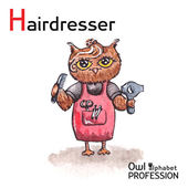 Alphabet professions Owl Letter H - Hairdresser character on a white background Vector Watercolor. — Vector de stock