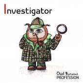 Alphabet professions Owl Letter I - Investigator character Vector Watercolor. — Stock Vector