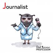 Alphabet professions Owl Letter J - Journalist character Vector Watercolor. — Vetorial Stock