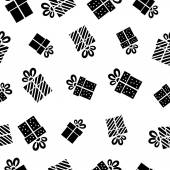 Seamless vector Gift pattern, black gift boxes on white background. — Stock Vector