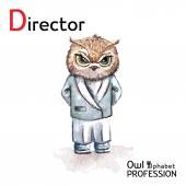 Alphabet professions Owl Letter D - Director character Vector Watercolor. — Vetorial Stock