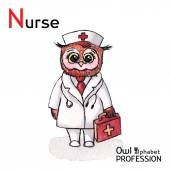 Alphabet professions Owl Letter N - Nurse character Vector Watercolor. — Stock Vector