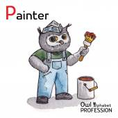 Alphabet professions Owl Letter P - Painter character Vector Watercolor. — Stok Vektör