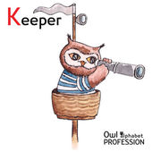Alphabet professions Owl Letter K - Keeper character Vector Watercolor. — Vector de stock