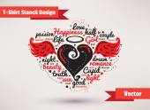 Heart with wings. T-Shirt Stencil Design vector illustration. — ストックベクタ