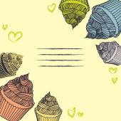 Vintage cupcake. Card cupcakes hand-drawn with chalks. — Stock Vector