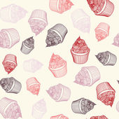 Vintage cupcake with chalks. Sketches Seamless pattern. — Stock Vector