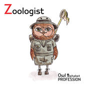 Alphabet professions Owl Letter Z - Zoologist Vector Watercolor. — Cтоковый вектор