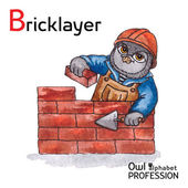 Alphabet professions Owl Letter B - Bricklayer Vector Watercolor. — Stok Vektör