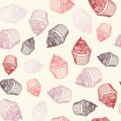 Vintage cupcake with chalks. Sketches Seamless pattern. — Vector de stock