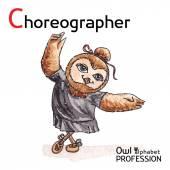Alphabet professions Owl Letter C - Choreographer Vector Watercolor. — Stock vektor