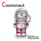 Alphabet professions Owl Letter C - Cosmonaut Vector Watercolor. — Stock Vector