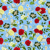 Seamless floral pattern with Roses. Vector illustration. — Vector de stock