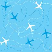 Seamless background airplanes flying with dashed lines as tracks or routes on blue sky. — Stock Vector
