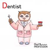 Alphabet professions Owl Letter D - Dentist Vector Watercolor. — Vector de stock