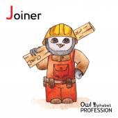 Alphabet professions Owl Letter J - Joiner Vector Watercolor. — Stock Vector