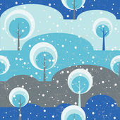 Winter forest Trees on glade seamless vector pattern. — Stock Vector