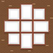 Collage of picture frames on the brick wall. Vector set. — Stock Vector