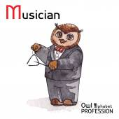 Alphabet professions Owl Letter M - Musician Vector Watercolor. — Stock Vector