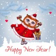 Happy New Year greeting card with cute owl in winter hat Vector Watercolor. — Vetor de Stock  #59004589
