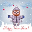 Happy New Year greeting card with cute owl in winter hat Vector Watercolor. — Vetor de Stock  #59004639