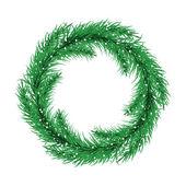 Green christmas tree wreath. Spruce branches Vector. — Stock Vector