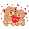Two teddy bear holding a heart Vector characters Valentines Day. — Stock Vector #59356427