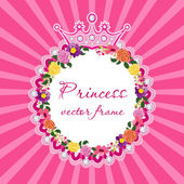 Flower frame with crown for little princess Vector. — Stock Vector