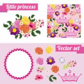 Set of pink floral elements with crown. Collect frame for a princess. — Stock Vector