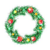 Green christmas tree wreath with Christmas decorations. — Stockvektor