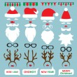 Christmas Photo Booth and scrapbooking vector set Santa, reindeer. — Stock Vector #60080919