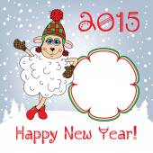 Happy new year 2015. Year of the Sheep. Template. — Stock Vector