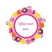 Beautiful greeting card with floral wreath. Holiday and cute summer background. — Stock Vector
