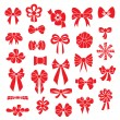 Set vector bows of different shapes red color. — Stock Vector #60344899