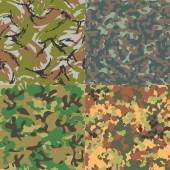 Set of vector seamless camouflage patterns. Four kinds. — Stock Vector
